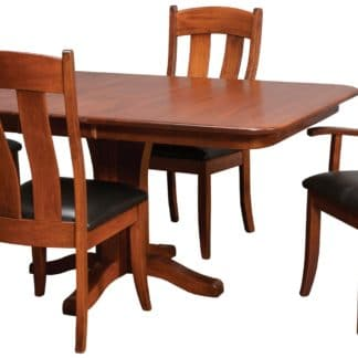 SL1 Leg Table in Brick on Quartersawn White Oak with Peoria Chairs