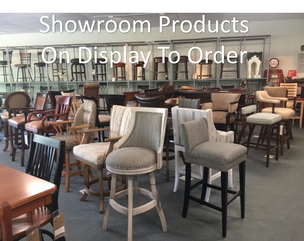 showroom products at furniture store in raleigh