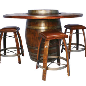 28″ High Barrel Top Side Table. This rustic barrel table is a perfect addition to your home decoR Dimensions: 28x22x22CARAMEL finish