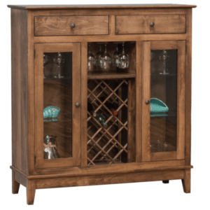 SHAKER WINE CABINET WITH WINE GLASS RAILS AND BOTTLE RACK